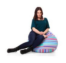 Multi Colour XL Classic Stripes Printed Bean Bag With Fillers (Bean Bag)