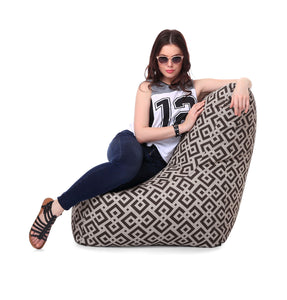 Multi Colour XXL Chair Geometric Printed Bean Bag With Fillers (Bean Bag)