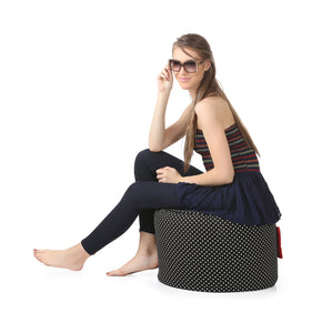 Black Large Ottoman Round Bean Bag With Fillers (Ottoman)