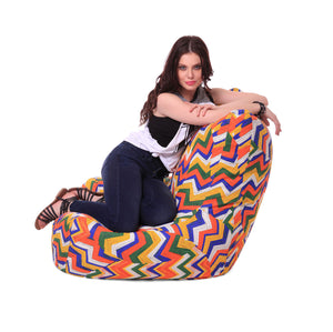 White And Prints Gold XXL Chair Geometric Printed Bean Bag With Fillers (Bean Bag)