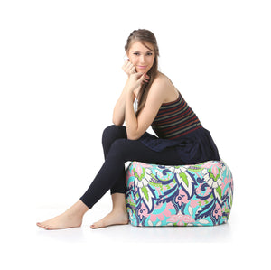 Blue Large Ottoman Square Floral With Fillers (Ottoman)