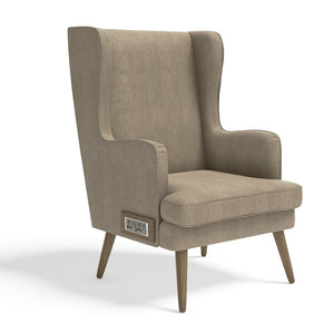 Stoa Paris Plush Recharge Wing Chair Beige With 1000 Days Warranty