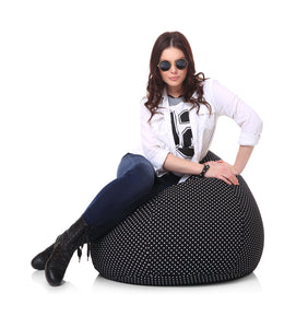 Black XL Polka Dots Cover Without Fillers (Bean Bag)