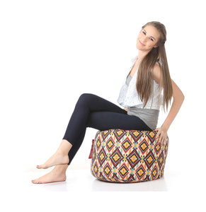 Brown Large Ottoman Bean Bag Cover Without Fillers (Ottoman)