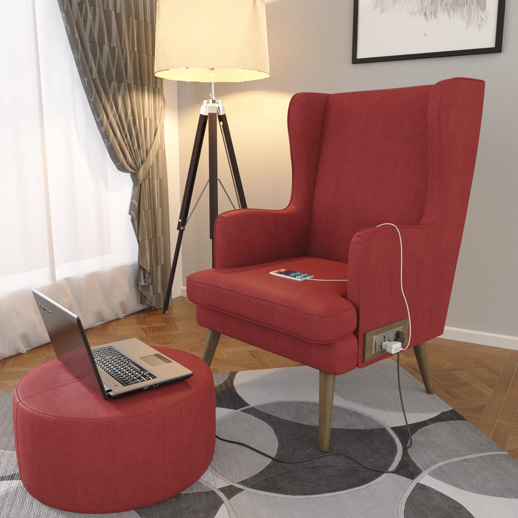 Stoa Paris Plush Recharge Wing Chair Red With 1000 Days Warranty