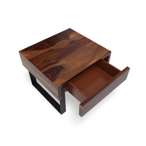 Classic Meets Urban Bedside Table In Dark Honey Polish With One Year Warranty