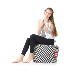 Black and White Large Ottoman Bean Bag Cover Without Fillers (Ottoman)