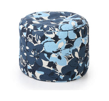 Blue Large Ottoman Round Floral With Fillers (Ottoman)