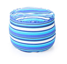Blue Large Ottoman Round Stripes With Fillers (Ottoman)