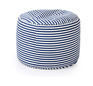 Black and White Large Ottoman Round Stripes With Fillers (Ottoman)