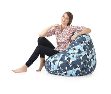 Blue XXL Classic Floral Printed Bean Bag With Fillers (Bean Bag)