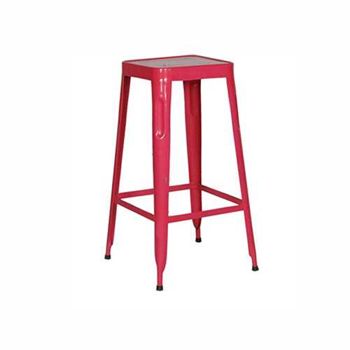 Stylo Stool In Metal with Pink finish