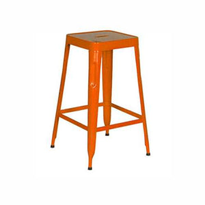 Stylo Stool In Metal With Orange Finish
