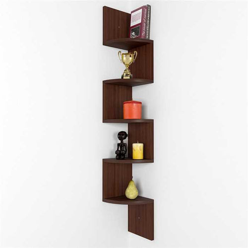 Zigzag Wall Mount Shelf Unit In Sheesham Wood
