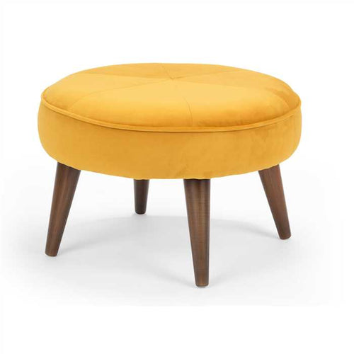 Yellow Fabric Pouf In Premium Fabric Finish