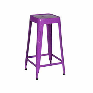 Stylo Stool In Mild Steel Metal With Purple Finish