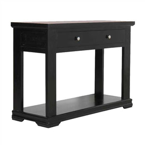 Dixie Console Table In Sheesham Wood Dark Black Finish