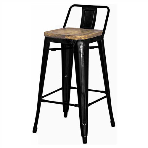 Maise Bar Chair In Mild Steel With Mango Wood Seat