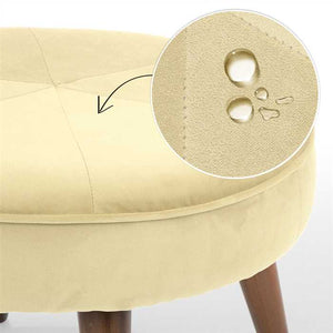 Ivory Fabric Pouf In Premium Finish