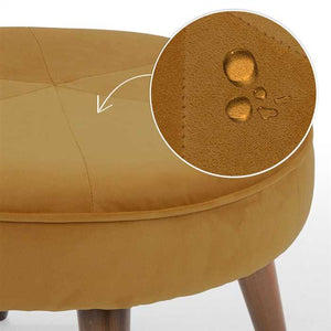 Golden Fabric Pouf In Premium Finish