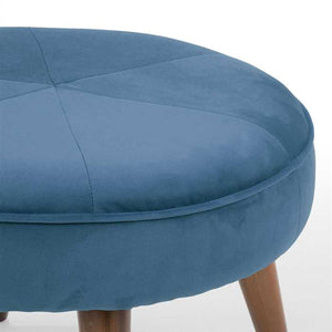 Light Prussian Fabric Pouf In Premium Finish