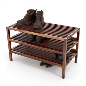 Transitional Styled Shoe Rack With Cubbies In Sheesham Wood