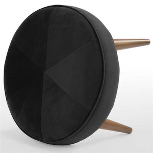 Carbon Black Fabric Pouf In Premium Finish