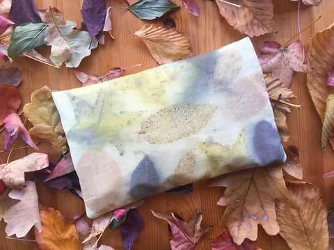 Cherry pit pillow made from peace silk and bundle-dyed with real leaves