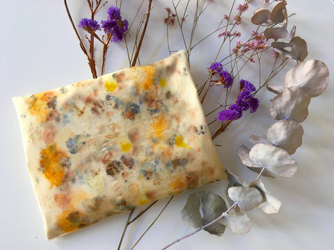 Cherry stone cushion BLOOM made from tussar peace silk