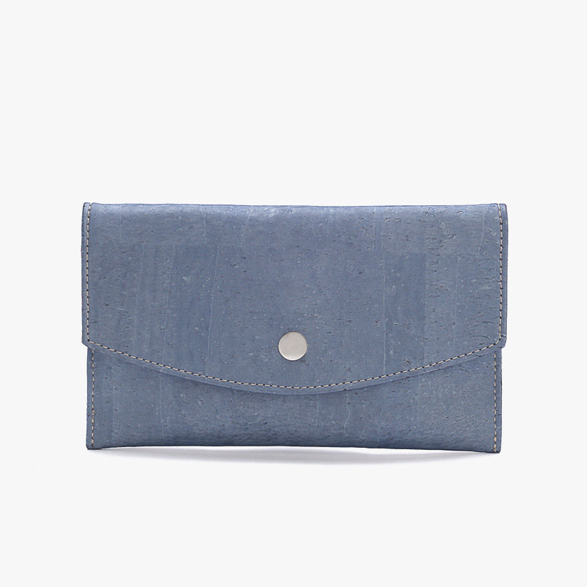Cork envelope wallet METALLIC BLUE