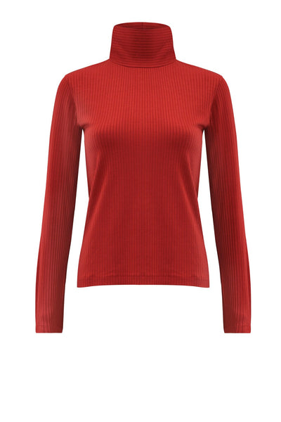 JAN 'N JUNE sustainable copper coloured turtle neck sweater | Nachhaltiger Rollkragenpulli aus Tencel Jersey