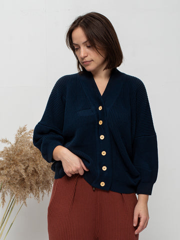 Organic cotton knit cardigan OAM
