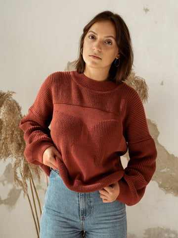 Organic cotton knit jumper MOA rust