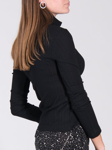 Organic cotton turtle neck sweater MIO RIB black