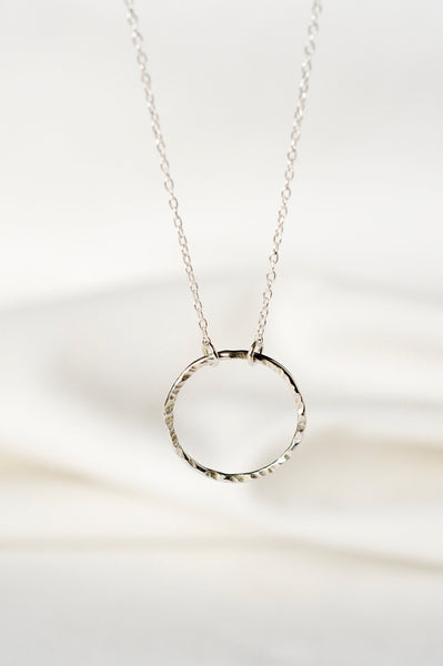 Recycled silver necklace TEXTURED CIRCLE
