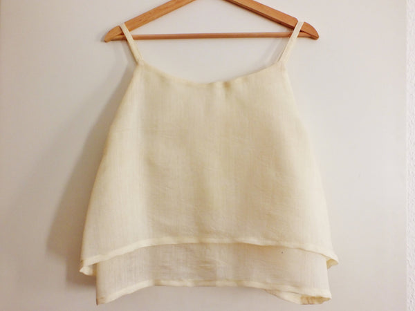 Peace silk crop top ARICA double layer NAED | Muga Seidentop creme handgewebt gewaltfrei