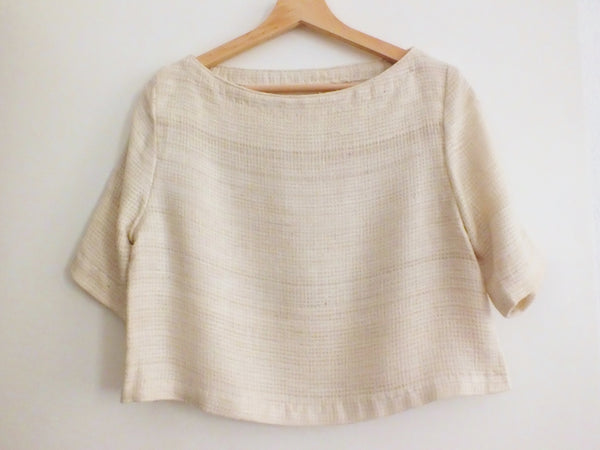 Peace silk crop top ANDA natural colour NAED | Tussar Seidentop creme handgewebt gewaltfrei