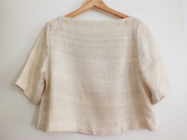 Peace silk crop top ANDA natural colour handloom NAED | Tussar Seidentop creme gewaltfrei