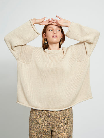 Organic cotton knit jumper SONA SAND