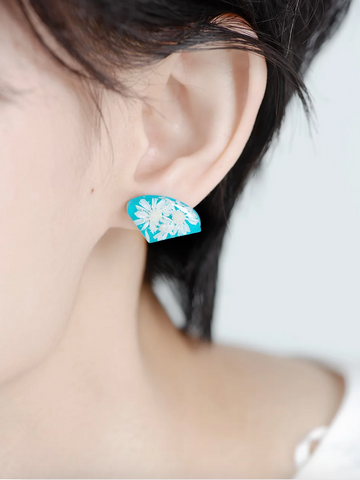 Flower earrings BLUE STAR STONE