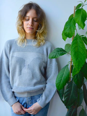 Organic cotton knit jumper MOA ash