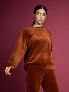 Organic cotton sweater TOULON VELVET BRICK