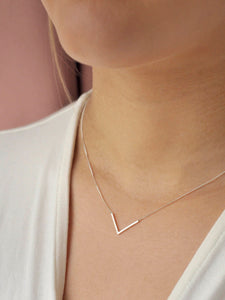 Recycled silver necklace V SHAPE