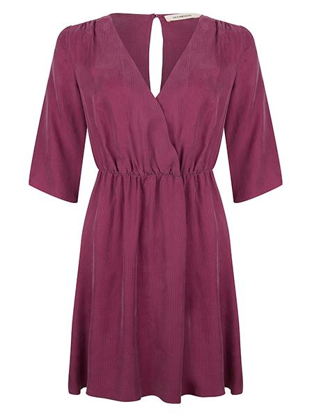 Cupro Velvet dress purple Noumenon | Cupro Wickelkleid violett