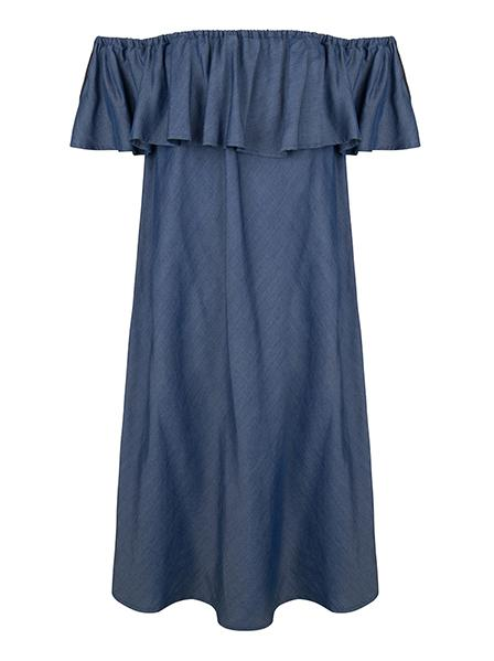 Lyocell dress RUFFLE off the shoulder petrol blue Noumenon | Kleid schulterfrei blau