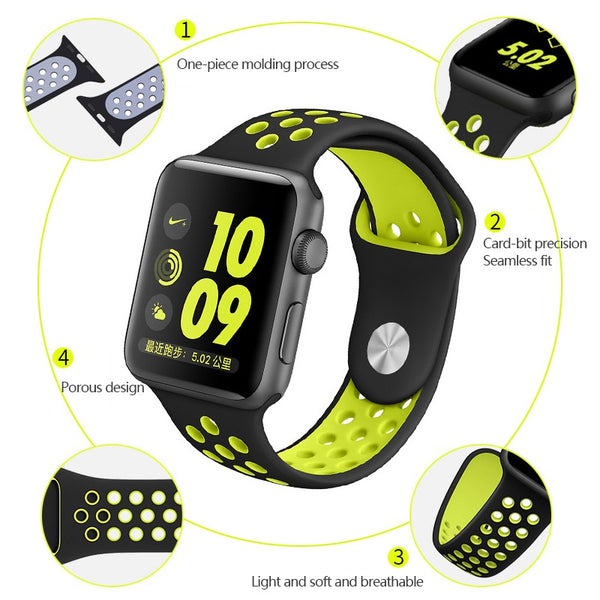 Perforated Sport Edition 42mm Strap - Black Green for Apple Watch (ONLY STRAP NOT WATCH)