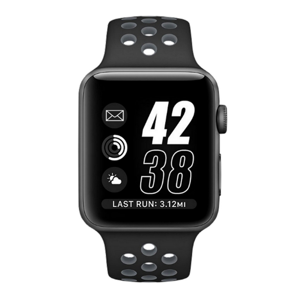 Perforated Sport 42mm Strap- Grey Black for Apple Watch (ONLY STRAP NOT WATCH)