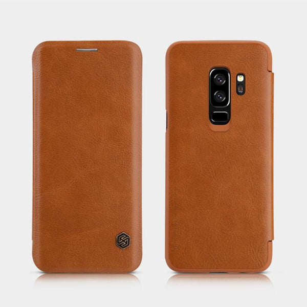Galaxy S9/S9 Plus Genuine QIN Leather Flip Case