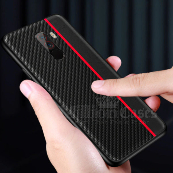 Mi Poco F1 Frosted Carbon Fiber PU Leather Protective Case