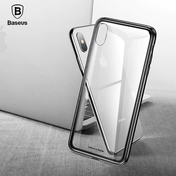 Baseus ® iPhone XS Max Ultra-Slim Glass TPU Frame Case